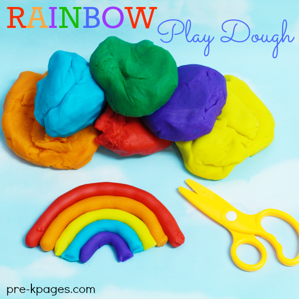 Rolling Rainbow Play Dough for Fine Motor Practice in Preschool