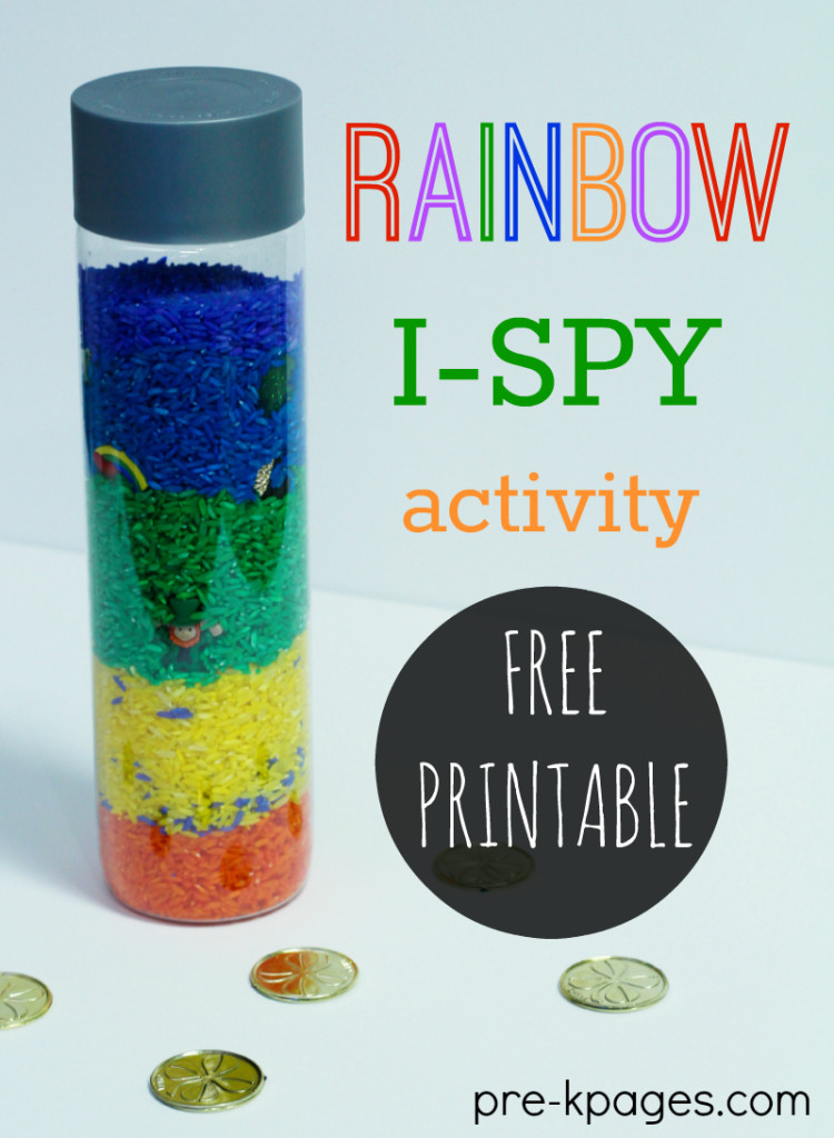 I spy activity with rainbow rice and hidden objects like gold coins.