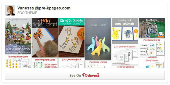 Zoo Theme Pinterest Board