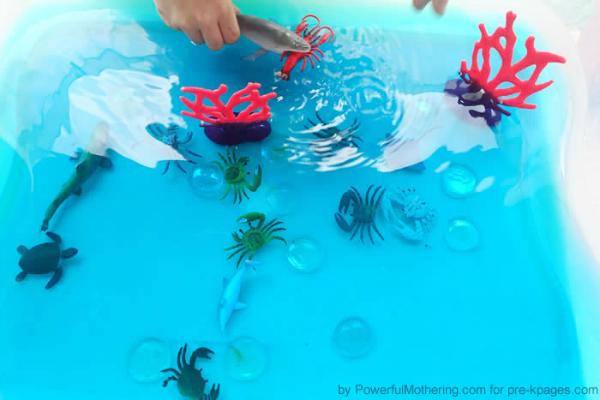counting ocean sensory bin