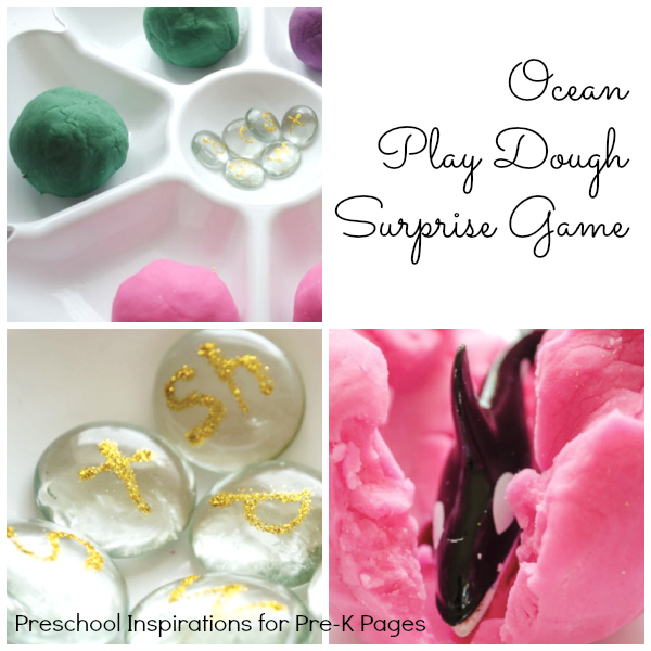Ocean Play Dough Game for preschool