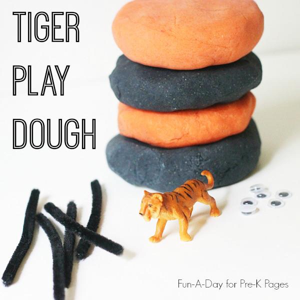 Tiger Play Dough Invitation for a Preschool Zoo Theme