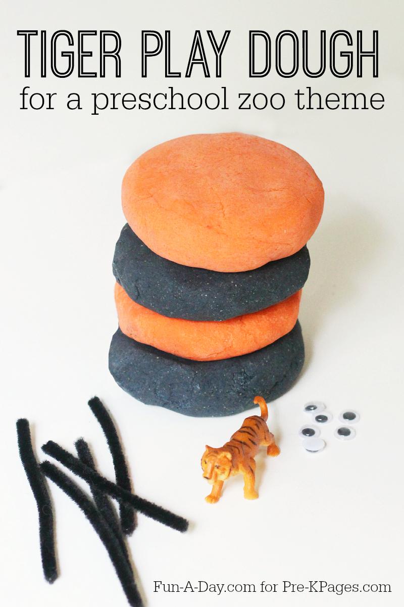 Tiger play dough for a preschool zoo theme