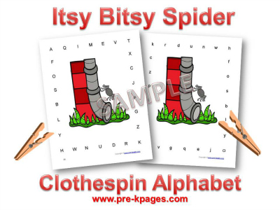 Itsy Bitsy Spider Alphabet Identification Game for Preschool