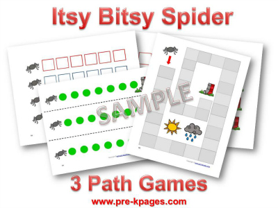 Printable Itsy Bitsy Spider Math Games for Preschool