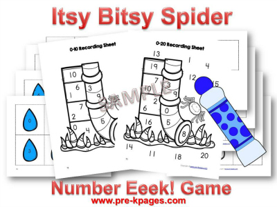 Printable Itsy Bitsy Spider Number Identification Game
