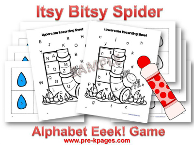 Fun Itsy Bitsy Spider Printable Alphabet Identification Game