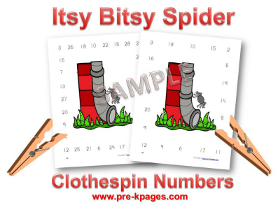 Printable Itsy Bitsy Spider Printable Number Identification Game