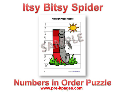 Printable Itsy Bitsy Spider Number Puzzle