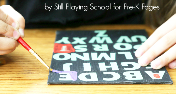 alphabet letter sticker painting