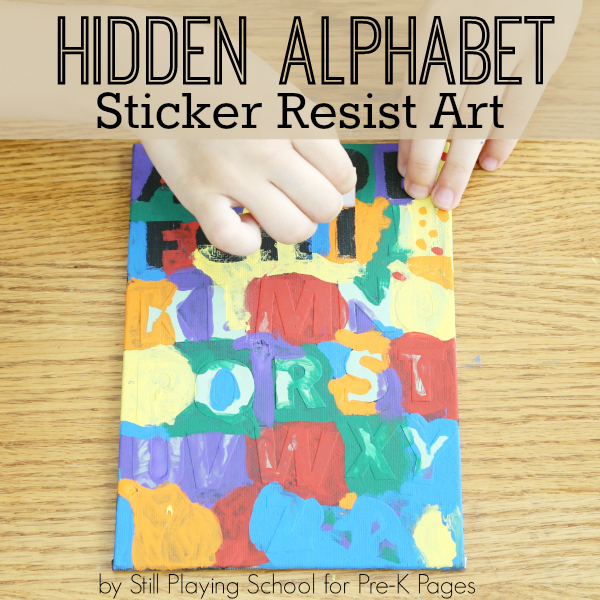 alphabet sticker resist art for preschool