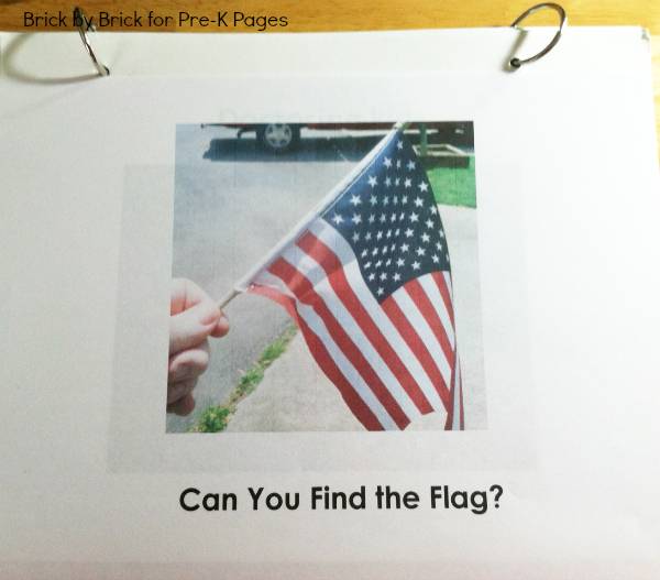 homemade American flag book for preschool