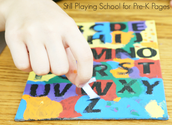 sticker resist art preschool fine motor