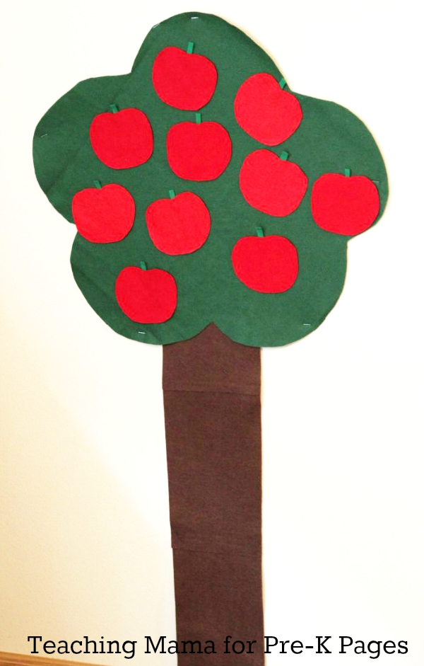 large counting apple tree for preschool