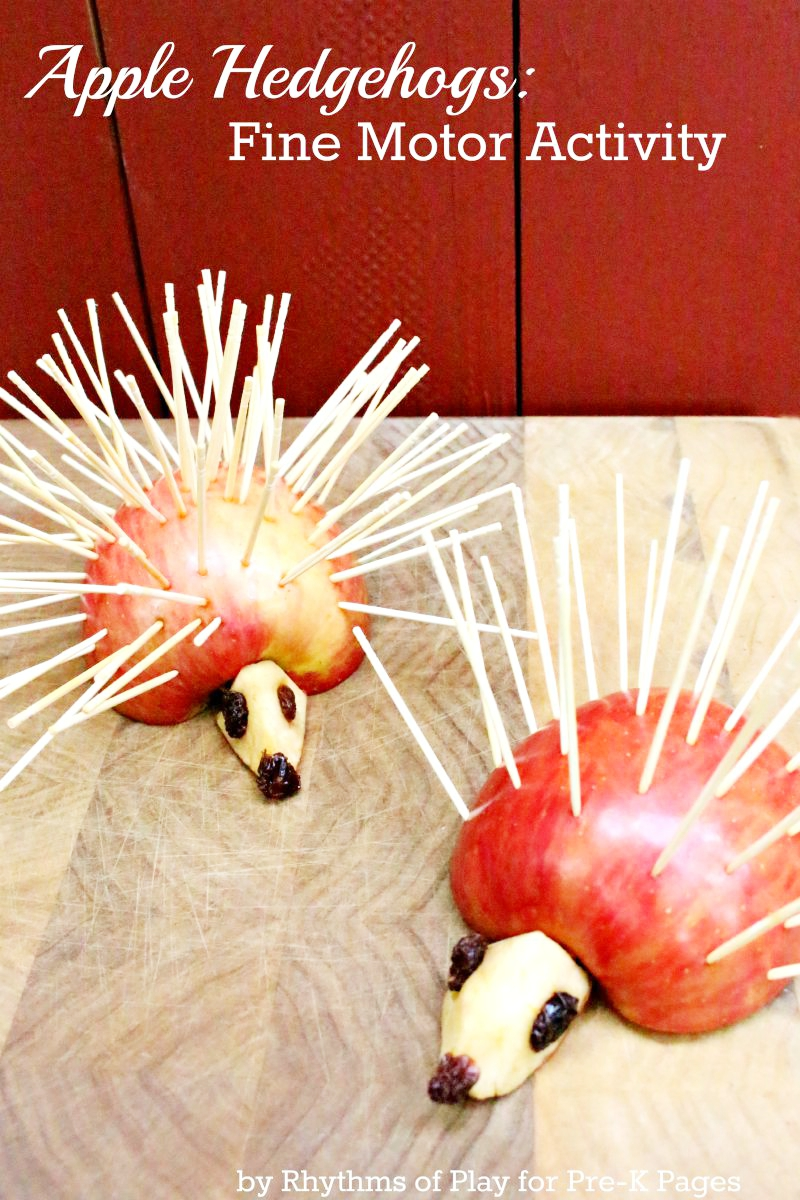 Apple Hedgehogs Fine Motor Activity for preschool