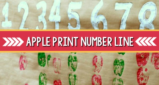 Apple Print Number Line For Classroom Wall
