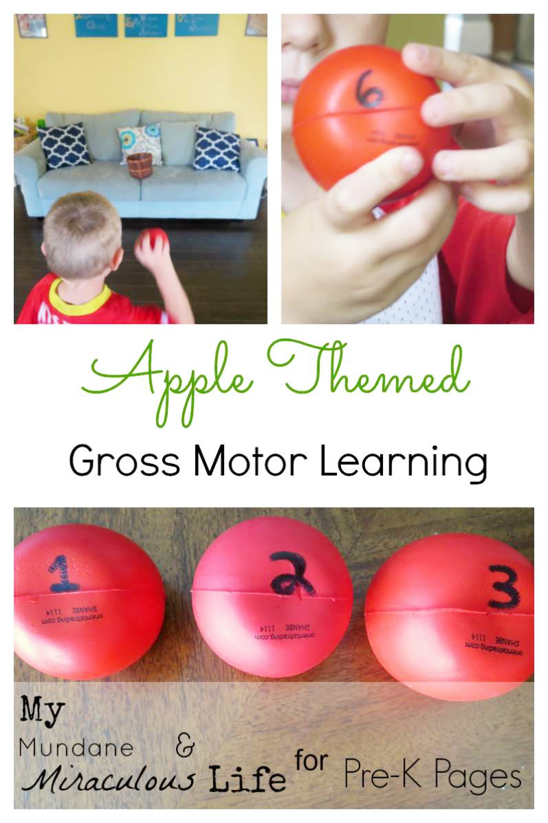 Apple Themed Gross Motor Learning for preschool