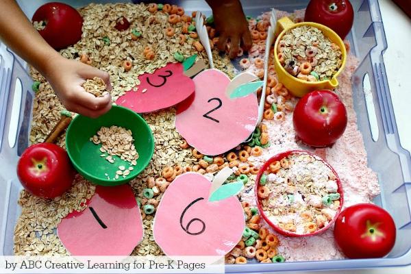 Oatmeal Apple Sensory for preschoolers
