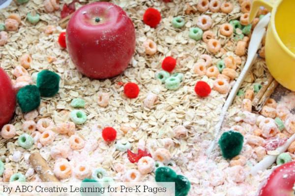 Oatmeal Apple Sensory Bin