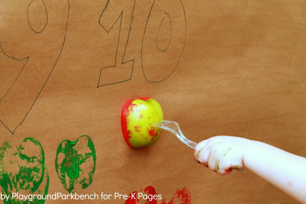 Using fork and apple in paint to create Number Line For Classroom Wall