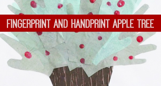 Handprint and Fingerprint Apple Tree Art