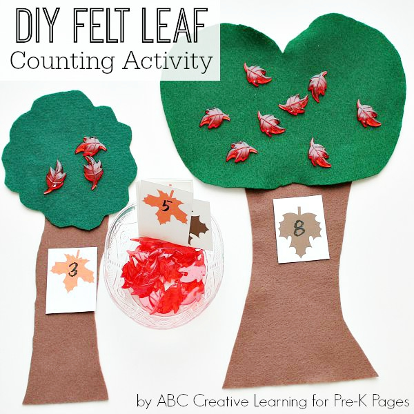 DIY Felt Leaf Counting Activity for preschool