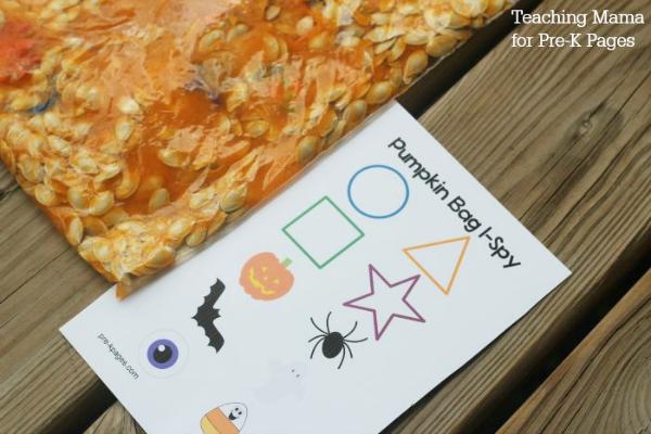 pumpkin sensory bag and I-Spy Bag printable page