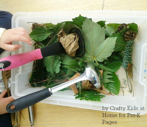fall leaves sensory bin masher