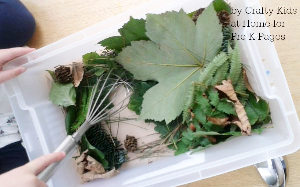 fall leaves sensory bin whisk