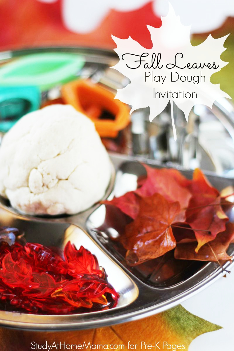fall leaves play dough activity for preschool