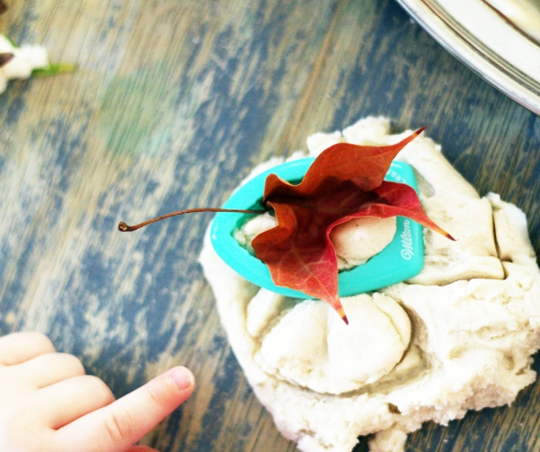 leaf and cutter in play dough