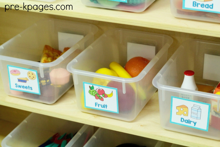 Organize Food in the Dramatic Play Center with Printable Labels