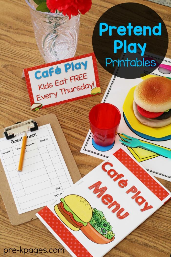 Printable Menu for Pretend Play Restaurant