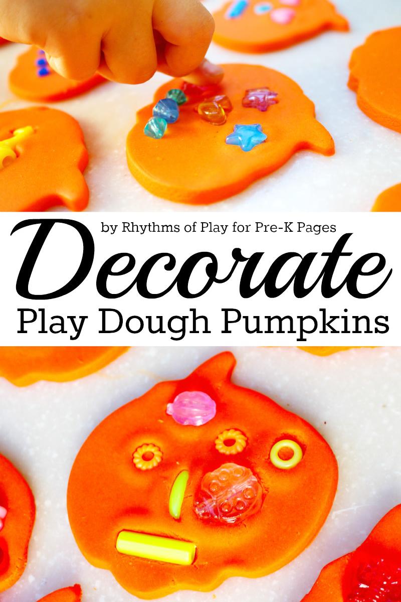 Decorate Play Dough Pumpkins for preschool