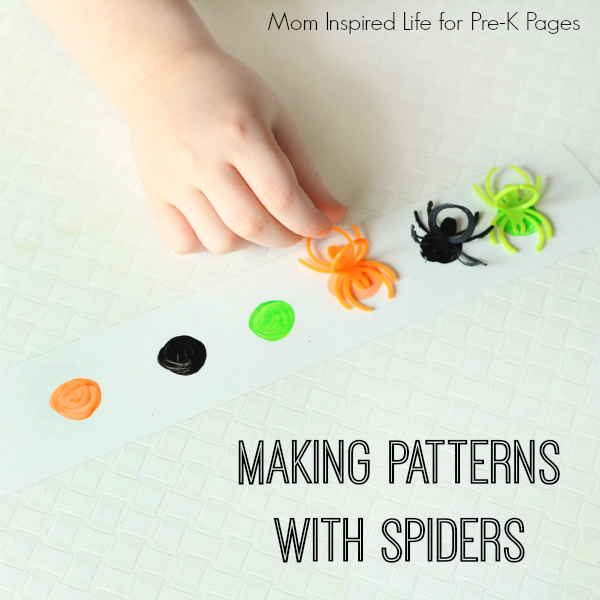 making patterns with spiders math activity