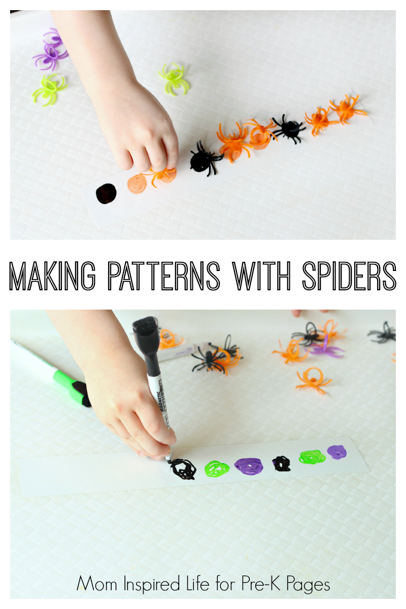 making patterns with spiders for preschool