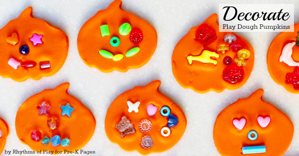 Play dough pumpkins with beads