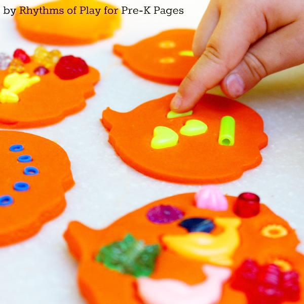 Play dough pumpkins process