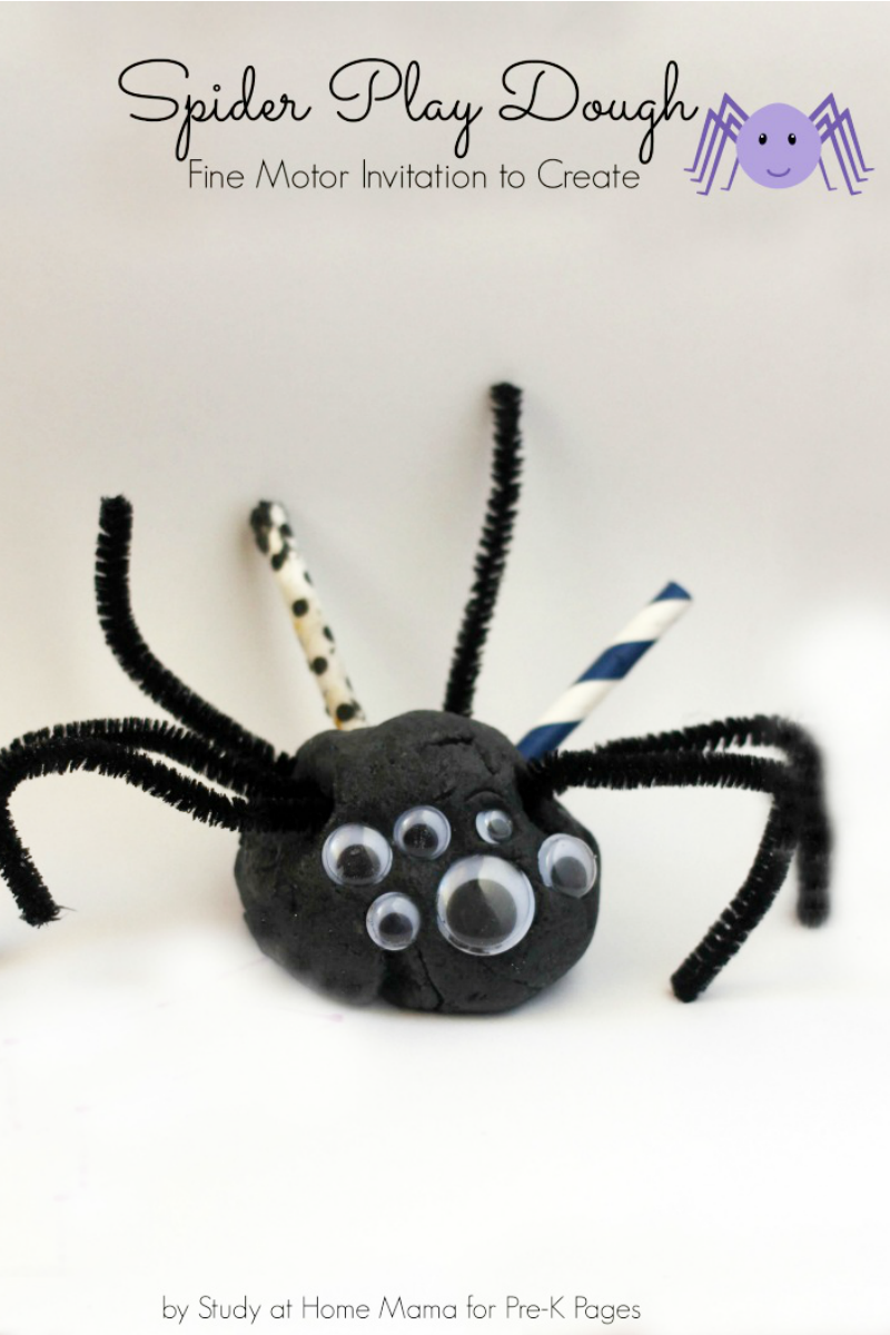 spider play dough fine motor activity for preschool