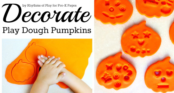 play dough pumpkins decorating