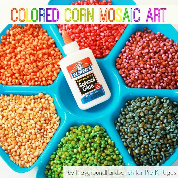 Colored Corn Mosaic Process Art