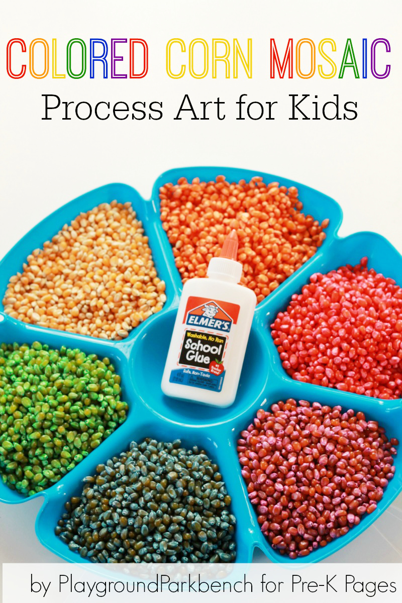 Colored Corn Mosaic Process Art for Preschool
