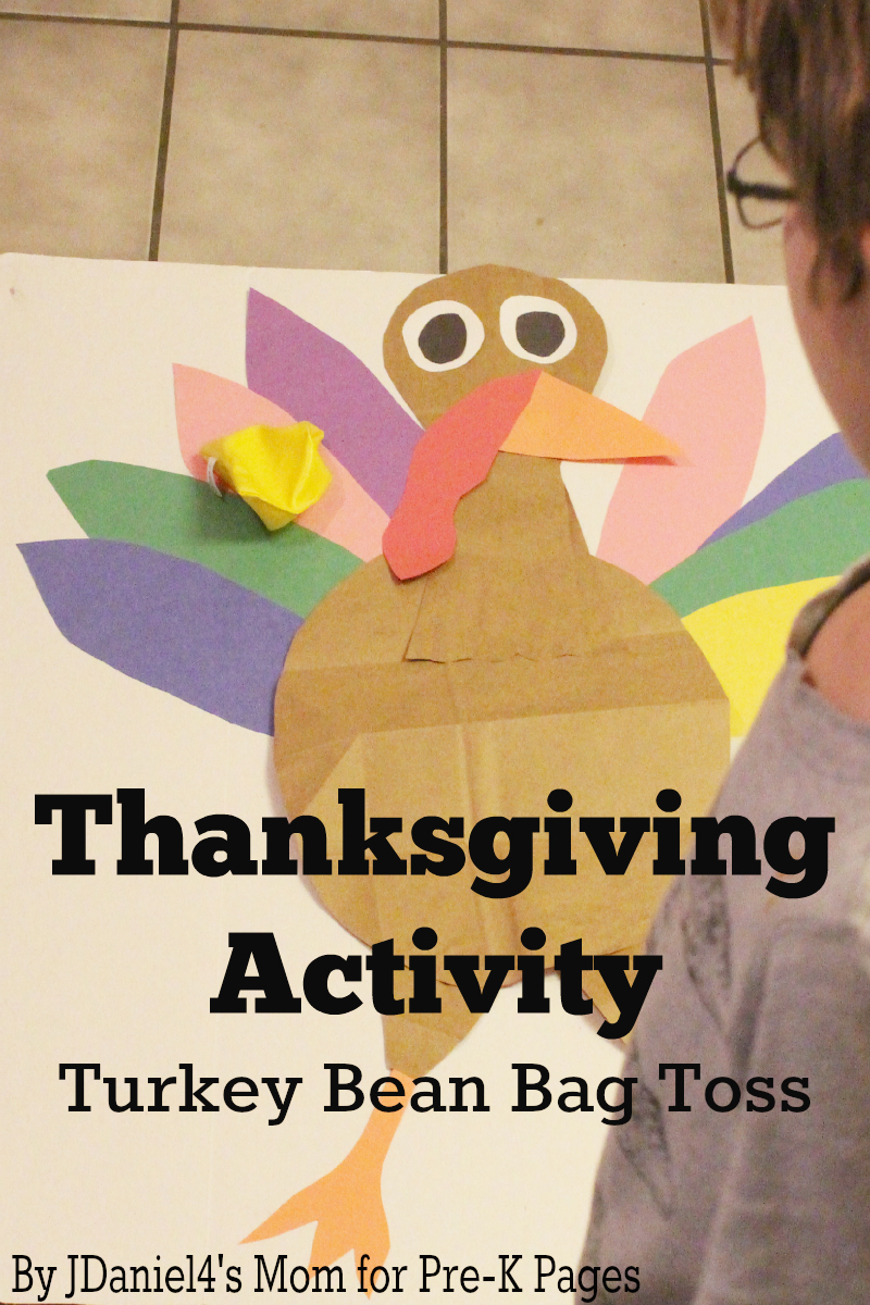 Thanksgiving Activity Turkey Beanbag Toss for preschool