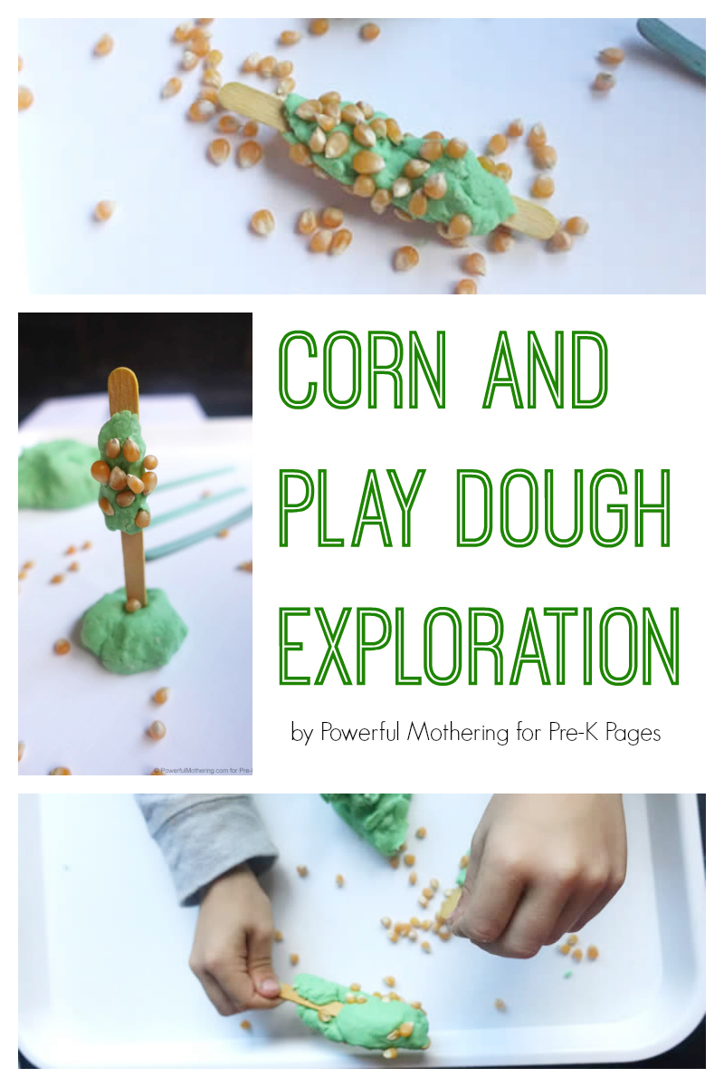 corn and play dough exploration for preschool