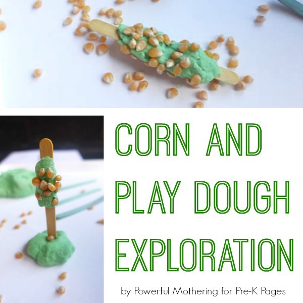 corn and play dough exploration