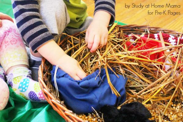 scarecrow stuffing sensory bin