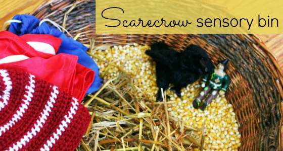 sensory bin scarecrow corn
