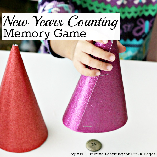 New Years Counting Memory Game for preschool