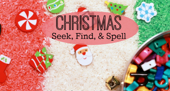 Christmas Seek, Find, and Spell Sensory Bin