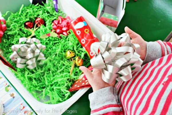 Christmas gift wrap bin